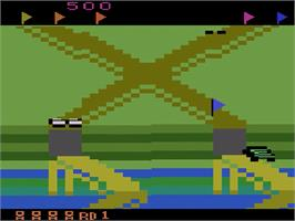 In game image of Up 'n Down on the Atari 2600.