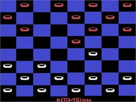 In game image of Video Checkers on the Atari 2600.