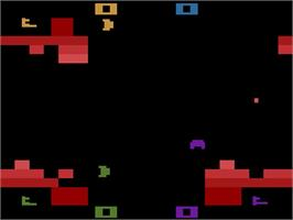 In game image of Warlords on the Atari 2600.