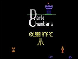 Title screen of Dark Chambers on the Atari 2600.