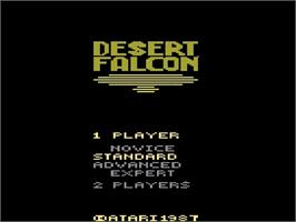 Title screen of Desert Falcon on the Atari 2600.