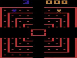 Title screen of Dodge 'Em on the Atari 2600.