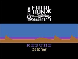 Title screen of Fatal Run on the Atari 2600.