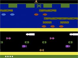 Title screen of Frogger on the Atari 2600.