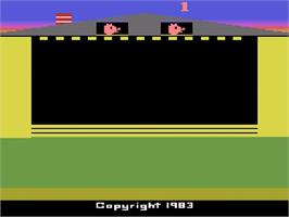 Title screen of Oink! on the Atari 2600.