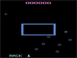 Title screen of Omega Race on the Atari 2600.