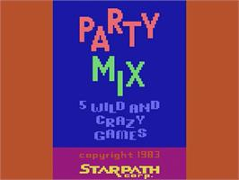 Title screen of Party Mix on the Atari 2600.