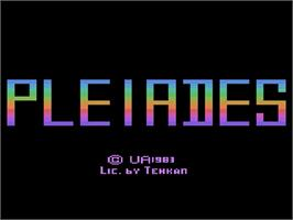 Title screen of Pleiades on the Atari 2600.