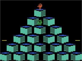 Title screen of Q*bert on the Atari 2600.