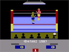 Title screen of RealSports Boxing on the Atari 2600.