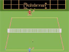 Title screen of RealSports Tennis on the Atari 2600.