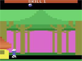 Title screen of Smurf: Rescue in Gargamel's Castle on the Atari 2600.