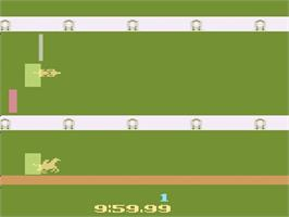 Title screen of Steeplechase on the Atari 2600.