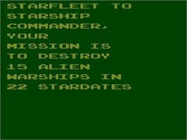 Title screen of Stellar Track on the Atari 2600.