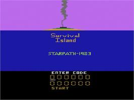 Title screen of Survival Island on the Atari 2600.