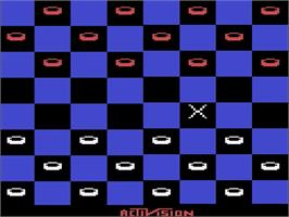 Title screen of Video Checkers on the Atari 2600.
