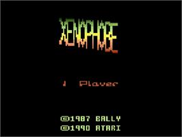 Title screen of Xenophobe on the Atari 2600.