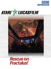 Box cover for Rescue on Fractalus on the Atari 5200.