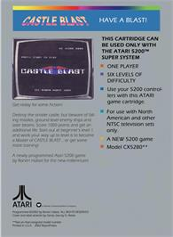 Box back cover for Castle Blast on the Atari 5200.