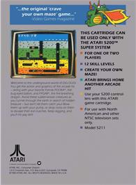 Box back cover for Dig Dug on the Atari 5200.