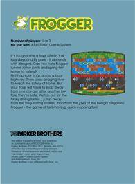 Box back cover for Frogger on the Atari 5200.