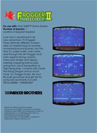 Box back cover for Frogger 2: Three Deep on the Atari 5200.
