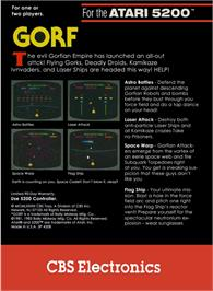 Box back cover for Gorf on the Atari 5200.