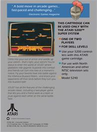 Box back cover for Joust on the Atari 5200.