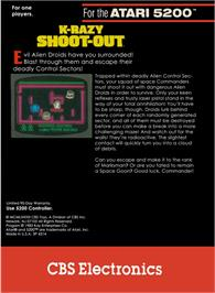 Box back cover for K-Razy Shootout on the Atari 5200.