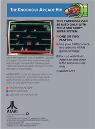 Box back cover for Mario Bros. on the Atari 5200.