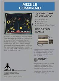 Box back cover for Missile Command on the Atari 5200.
