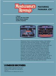 Box back cover for Montezuma's Revenge on the Atari 5200.