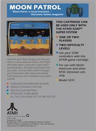 Box back cover for Moon Patrol on the Atari 5200.