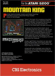 Box back cover for Mountain King on the Atari 5200.