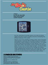 Box back cover for Mr. Do's Castle on the Atari 5200.