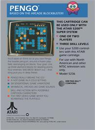 Box back cover for Pengo on the Atari 5200.