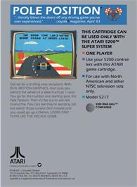 Box back cover for Pole Position on the Atari 5200.