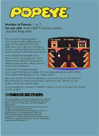 Box back cover for Popeye on the Atari 5200.