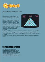 Box back cover for Q*bert on the Atari 5200.