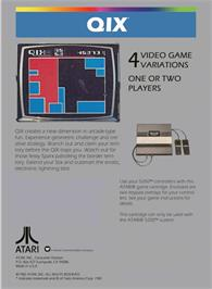 Box back cover for Qix on the Atari 5200.