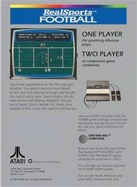 Box back cover for RealSports Football on the Atari 5200.