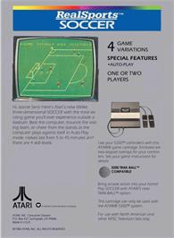 Box back cover for RealSports Soccer on the Atari 5200.
