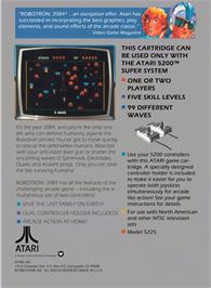 Box back cover for Robotron on the Atari 5200.
