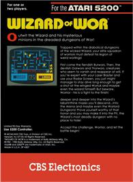 Box back cover for Wizard of Wor on the Atari 5200.