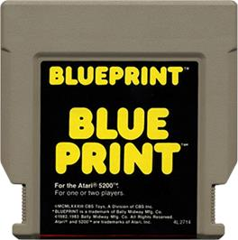 Cartridge artwork for Blue Print on the Atari 5200.