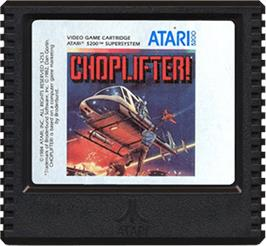 Cartridge artwork for Choplifter on the Atari 5200.