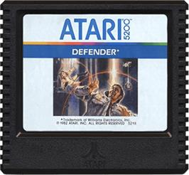 Cartridge artwork for Defender on the Atari 5200.