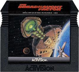 Cartridge artwork for Dreadnaught Factor on the Atari 5200.