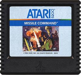 Cartridge artwork for Missile Command on the Atari 5200.