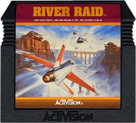 Cartridge artwork for River Raid on the Atari 5200.